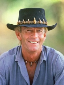 """Paul Hogan as """"Crocodile Dundee"""" from the 80's hit film by that name."""