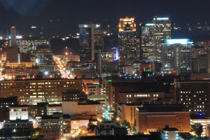 Downtown Birmingham with some of the UAB Hospital campus in the foreground.